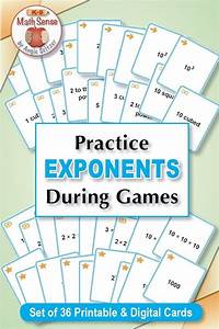 Understanding Exponents  40 Math Matching Game Cards 6e11