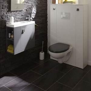 Deco Wc Gris : carrelage sol wc gris anthracite et mur en pierre de parement ~ Melissatoandfro.com Idées de Décoration
