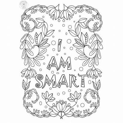 Coloring Pages Smart Am Growth Mindset Positive