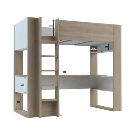 lit mezzanine avec bureau et rangement lit mezzanine noah avec bureau et rangements intégrés