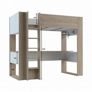 Lit Mezzanine Dressing : lit mezzanine noah avec bureau et rangements int gr s ~ Premium-room.com Idées de Décoration