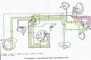 Wiring Diagrams 911  Vespa 150 Super Vbc1 And 150 Sprint Vlb1 Wiring Diagram