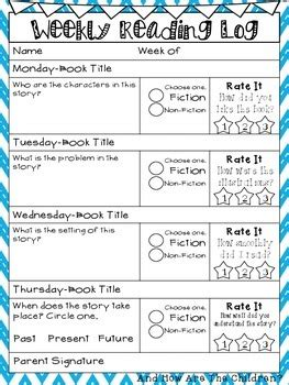 weekly reading log  grade common core aligned