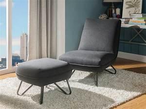 Fauteuil Repose Pied : fauteuil avec repose pieds en tissu gris ou rouge bamola ~ Teatrodelosmanantiales.com Idées de Décoration