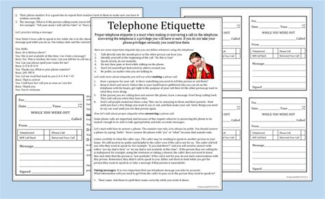 telephone etiquette worksheets include practice message