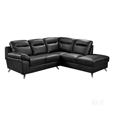 Stylish Loveseat by Nuvola Italian Inspired Black Leather Corner Sofa L Shaped