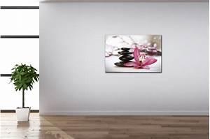 tableau zen galets en pyramide avec fleur rose l80 x h55 With chambre bébé design avec fleurs correspondance