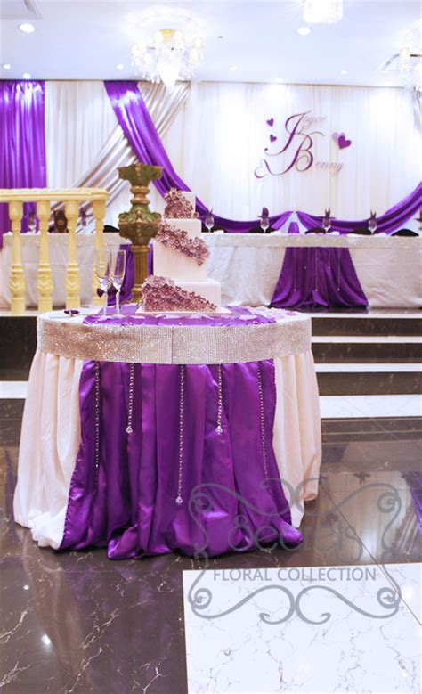 crystallized royal purple  silver wedding reception