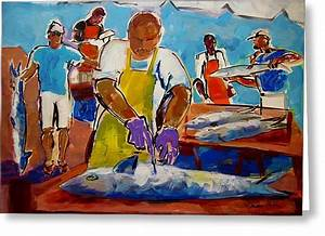 King Mackerel Paintings Greeting Cards for Sale