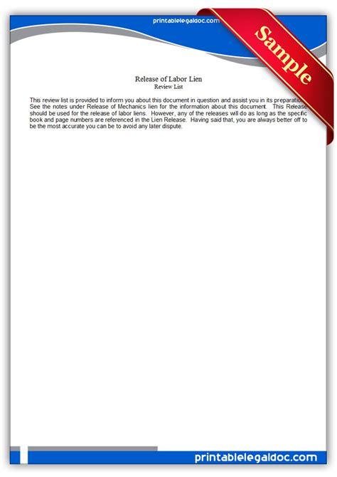 printable release  labor lien form generic