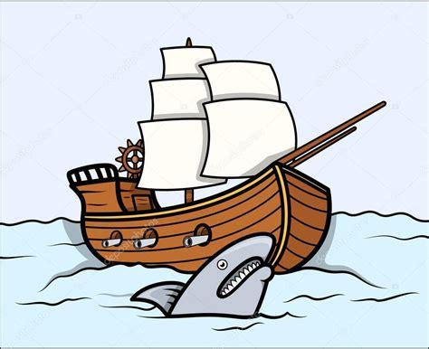 Shark and Old Ship in Sea - Vector Cartoon Illustration ...