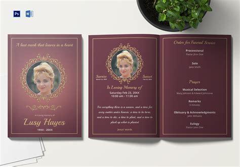 memorial service funeral brochure template  adobe