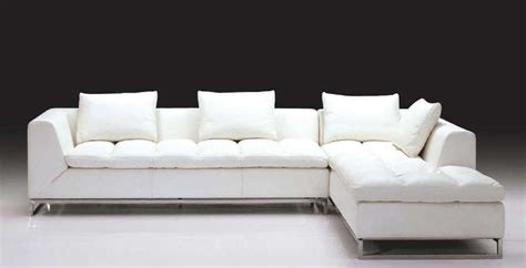 Luxurious White Leather L Shaped Sofa With Chromed Metal