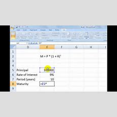 Calculate Compound Interest In Excel Youtube