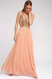 Lovely Rose Gold Maxi Dress Plunge Sequin Dress
