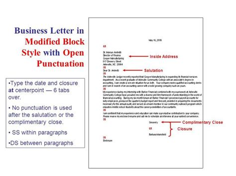 business letter modified block style  open punctuation