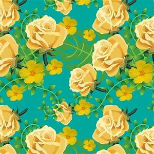 Yellow floral pattern on blue background Vector | Free ...