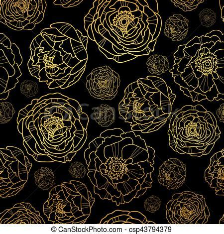 vector golden  black peony flowers summer seamless