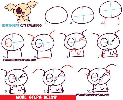 draw cute kawaii chibi puppy dogs  easy step