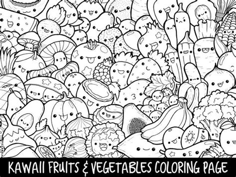 fruits vegetables doodle coloring page printable etsy