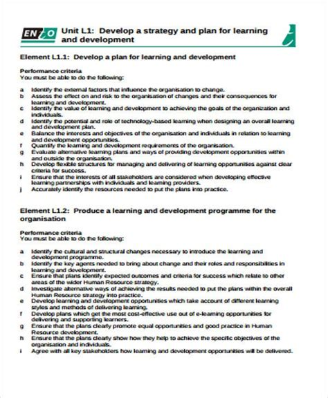 learning plan template   samples examples format