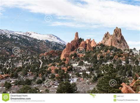 garden of the gods winter snow stock photo image 54811021