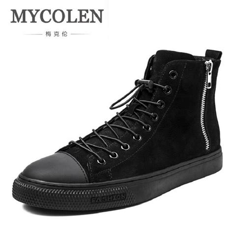 Cowhide Leather Shoes by Mycolen 2017 Genuine Leather High Top Cowhide Shoes