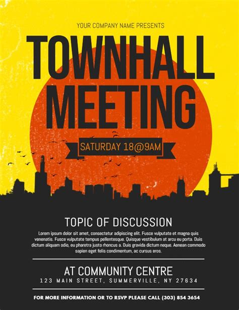 modern town hall meeting posterflyer template