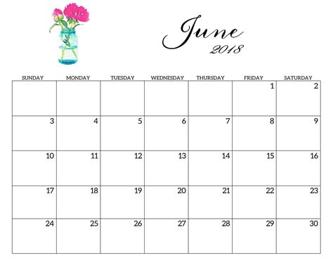 calendar template june 2018 printable 2018 monthly blank templates calendar