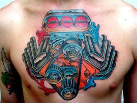 car tattoos color  design idea men chest fav