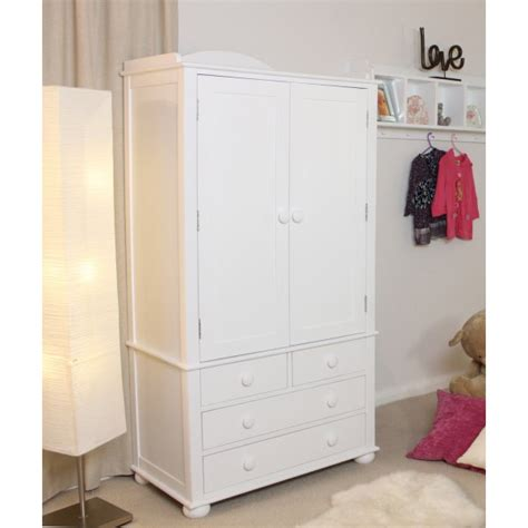 White Wooden Wardrobe With Drawers by Baumhaus Nutkin White Wardrobe With Drawers