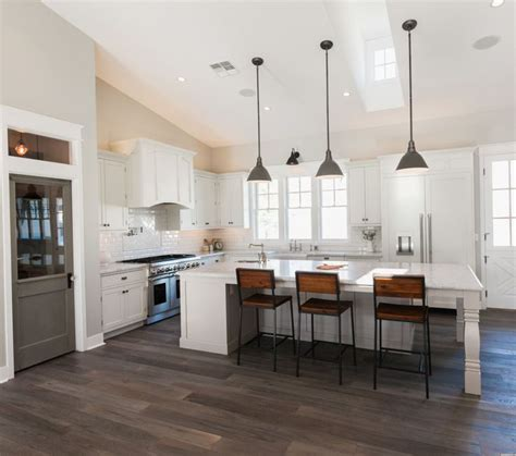 vaulted ceilings   kitchen large island  pendant