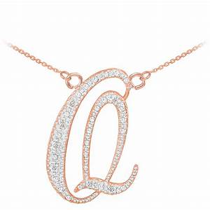 diamond script letter q pendant necklace in 9ct rose gold With letter q necklace