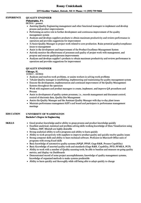 quality engineer resume sles velvet