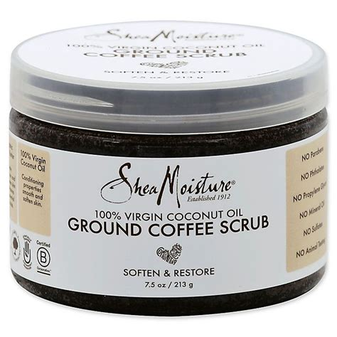 Ground scrub with coconut oil will make your skin healthy as well. SheaMoisture® 7.5 oz. 100% Virgin Coconut Oil Ground Coffee Scrub   Bed Bath & Beyond