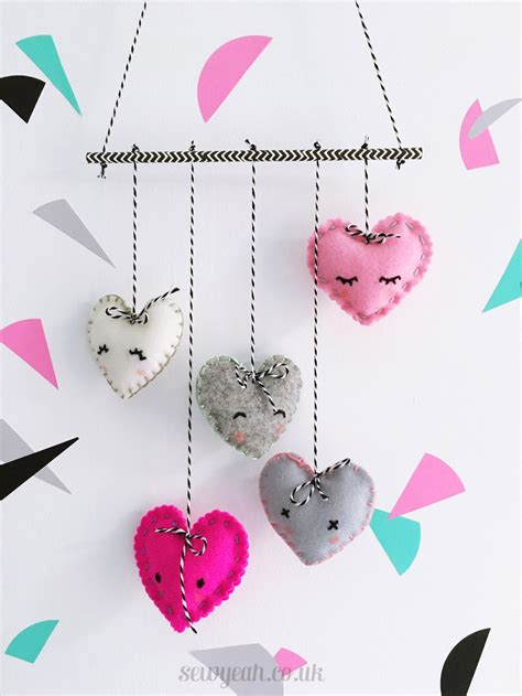 DIY Felt Heart Mobile - Red Ted Art - Make crafting with ...