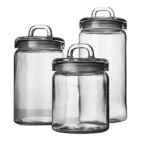 clear glass kitchen canister sets set of 3 clear glass canister jars with lids and