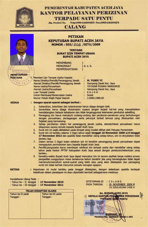 kimhotnews contoh surat izin tempat usaha