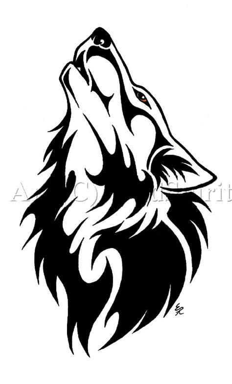 Black Tribal Wolf Tattoo Design Drawing