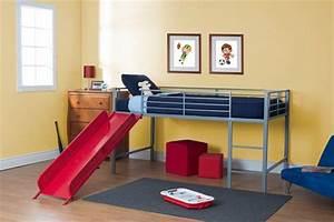 DHP Lit Mezzanine Jumeau Avec Toboggan Pour Enfants
