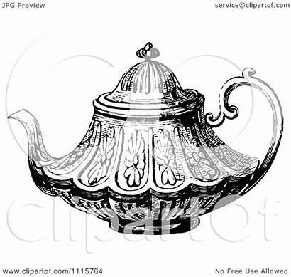 Tea Decorative Pot Clipart Retro Vector Illustration