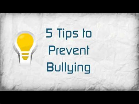5 Tips To Prevent Bullying Youtube