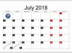 July 2018 Monthly Calendar in PDF, JPG Printable 2017