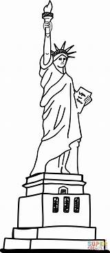 Liberty Statue Coloring Printable Pages Supercoloring sketch template