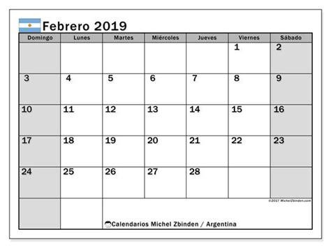 calendario febrero  argentina febrero febrero