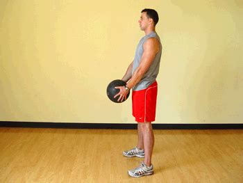 squat with front medicine ball raises exercise