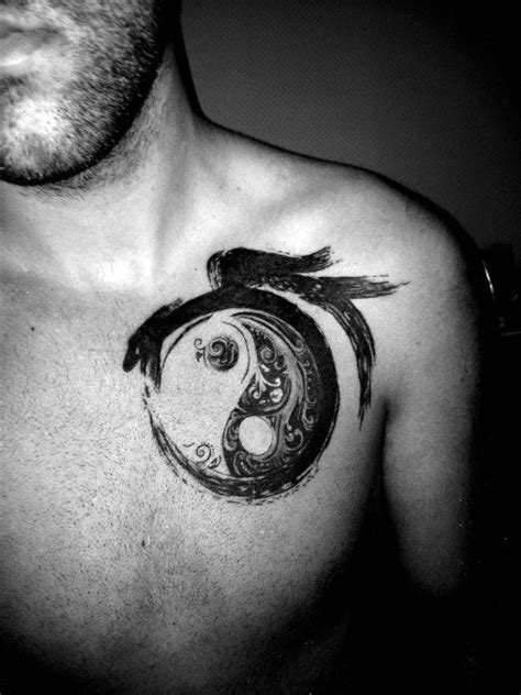 60 Yin Tang Tattoos For Men - Contrasting Chinese Designs