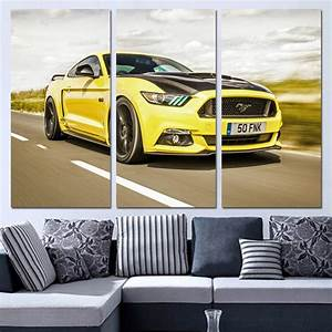 3 Panels Canvas Art Sports Car Ford Mustang Home Decor Wall Art Painting Canvas Prints Pictures ...