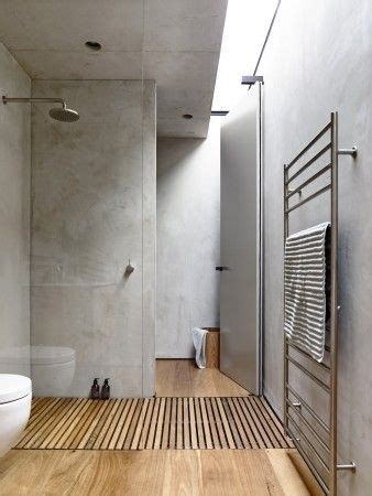timber shower base  latest trend  bathroom design minimalist bathroom design concrete