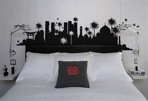 wall painting designs black and white black and white bedroom design ideas with wall sticker Bedroom